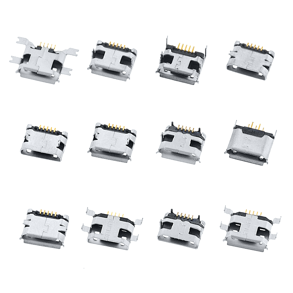 60PCS 5 Pin SMT Socket Connector Micro USB Type B Female Placement 12 Models SMD DIP Socket Connector