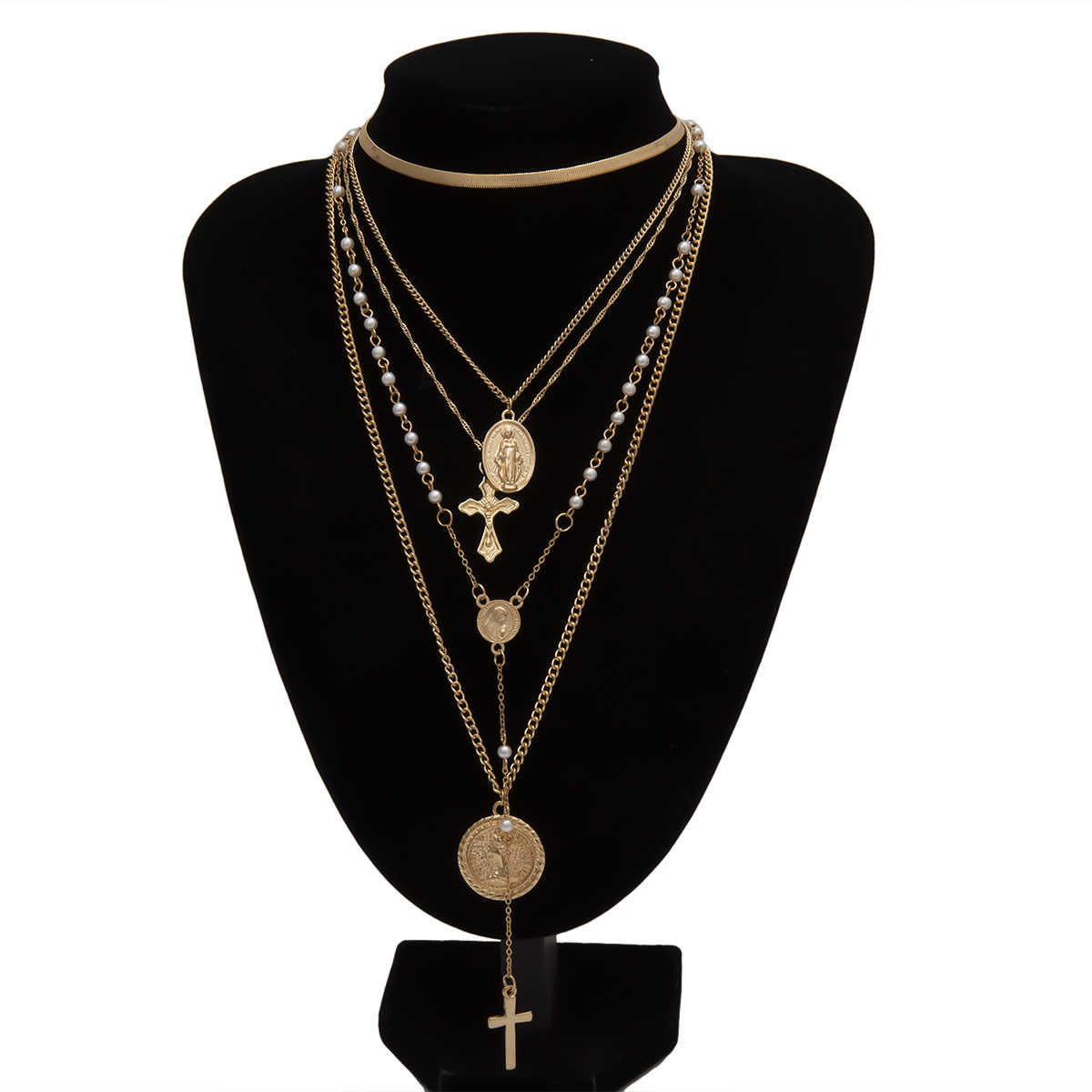 多層彫コインチョーカーネックレスペンダントヴィンテージクロス聖母マリア模造真珠ヘビのチェーンネックレスジュエリー