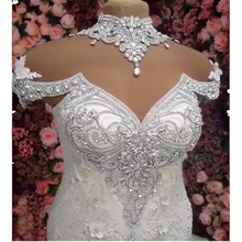 Vestido de casamento 2020 sereia completa beading vestido de noiva de luxo