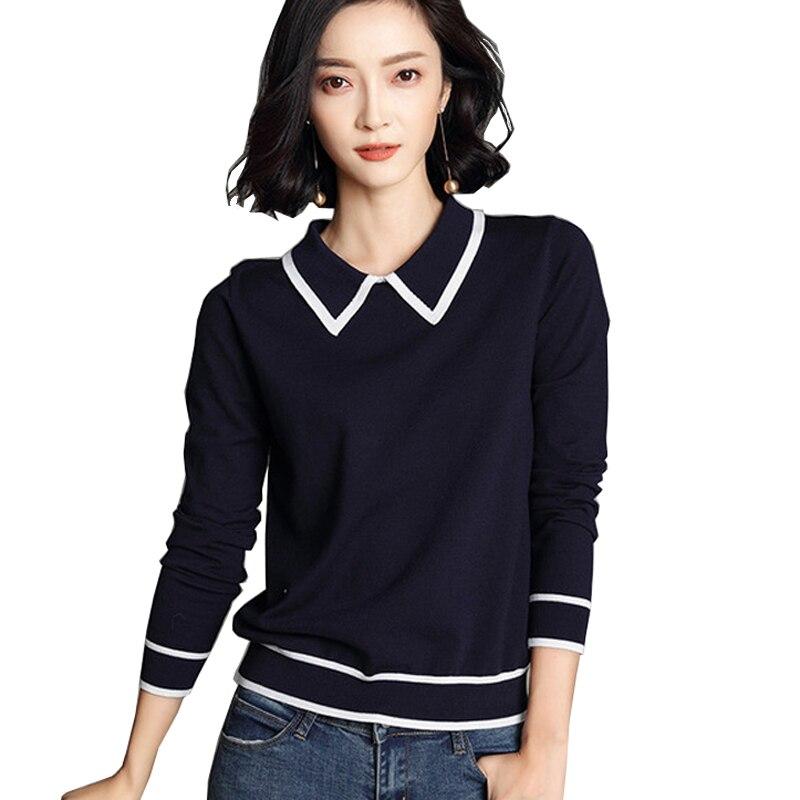 Fashion Elegant Women Clothing Turn Down Collar Long Sleeve Pullover Knitted Sweaters Slim Women Tops Knitwear Kz541