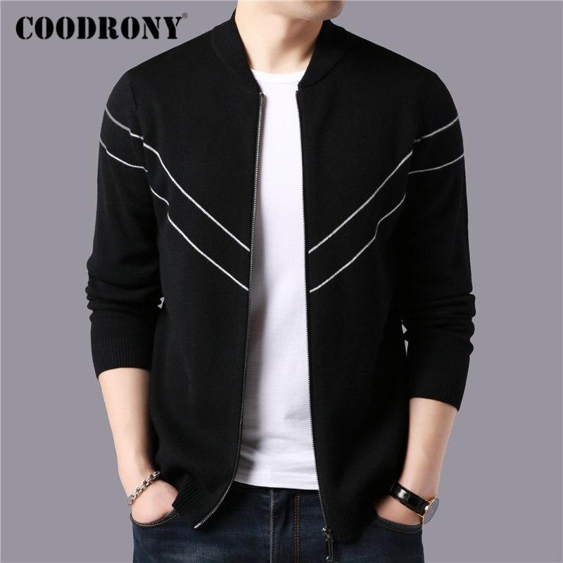 COODRONY Brand Sweater Men Autumn Winter Thick Warm Cashmere Wool Cardigan Men Streetwear Fashion Striped Sweater Coat Men 91101