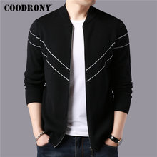 COODRONY Brand Sweater Men Autumn Winter Thick Warm Cashmere Wool Cardigan Streetwear Fashion Striped Coat 91101