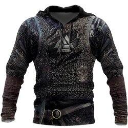 2020 New Europe and America God of War Men's Armor 3D Digital Printed Hoodie Long Sleeve Straight Hooded Hoodie Jacket