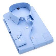 Work-Shirts Regular-Fit Mens Dress Long-Sleeve Social Blue Plus-Size Solid 8xl for Light
