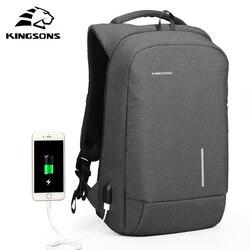 Mochila para hombre Kingsons, moda, multifunción, con carga USB, para hombre, 13, 15 pulgadas, mochilas para ordenador portátil, bolsa antirrobo para hombres