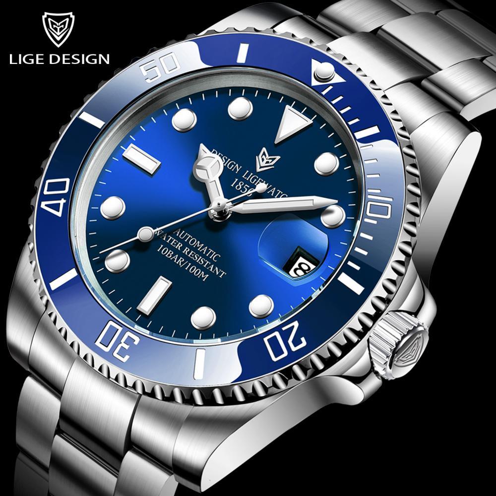 2020 LIGE Watch Men Automatic Mechanical Tourbillon Clock Fashion Sapphire Glass 316L Steel 100 Waterproof Watches NH35 Movement 1