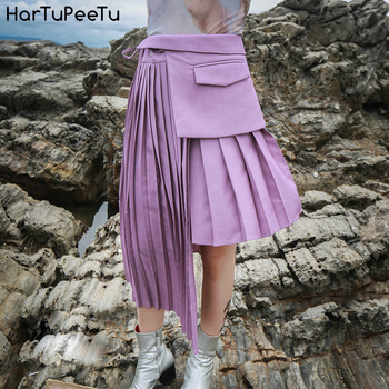 Pleated Skirt Pink Mini Women Plus Size Summer 2020 Turndown High Waist Asymmetrical Lace-up Patchwork Solid Tunic Korean Style цена 2017