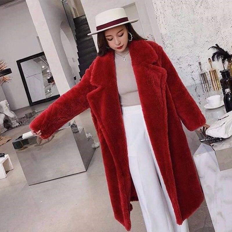 Femmes fourrure ours en peluche manteau en peluche 2019 automne hiver surdimensionné longs manteaux en peluche chaud à manches longues solide mode pardessus femme - 4