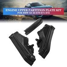 3 sztuk/zestaw silnik samochodowy górna komora ścianka działowa zestaw komory silnika dla BMW X5 X6 E70 E71 E72 51717169419 51717169420