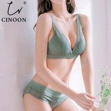 CINOON New Push Up Bra Set Deep V Brassiere Lace Underwear Panties Thin breathable bra set Jacquard Sexy Underwear Free Shipping