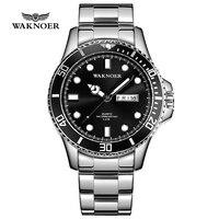 WAKNOER ספורט שעון גברים קלאסי עיצוב 5ATM עמיד למים זוהר אוטומטי תאריך שבוע תצוגת נירוסטה למעלה מותג יוקרה עסקים Reloj