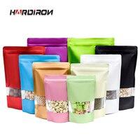 Einfarbig Aluminium Folie Tasche Wiederverschließbare Matte Stehenden Lebensmittel Verpackung Tasche mit Display Fenster Selbst-Versiegelt Kunststoff Zipper Taschen