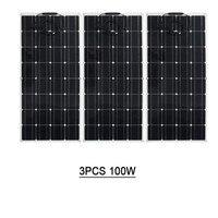 Solar Panel Kit 18v 300w flexible Monocrystalline Solar Cell Battery,3x100w flexible solar panel