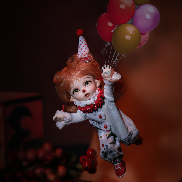Fairyland Pukifee Jon 1/8 clown Doll BJD cosmetics dolls fullset complete professional makeup Toy Gifts movable joint doll