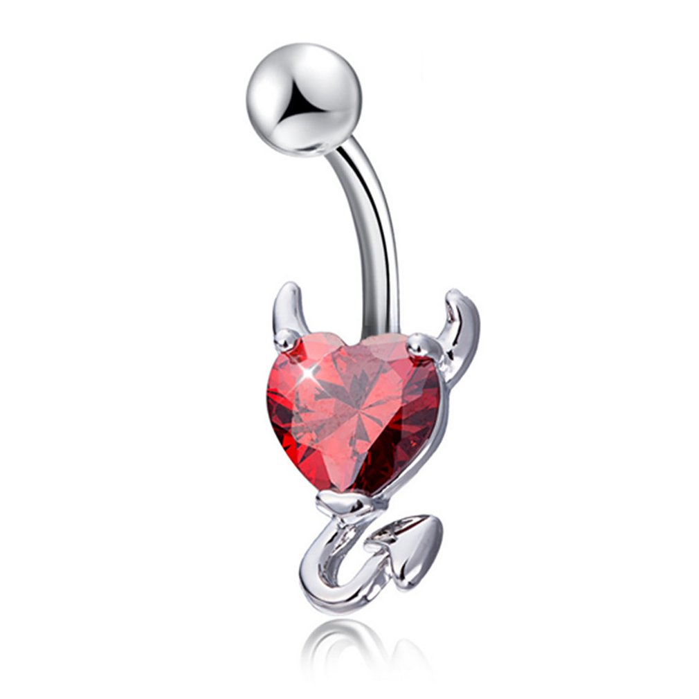 Button-Rings Jewelry Navel Zircon Piercing Belly Devil Surgical Women Heart for Fashion