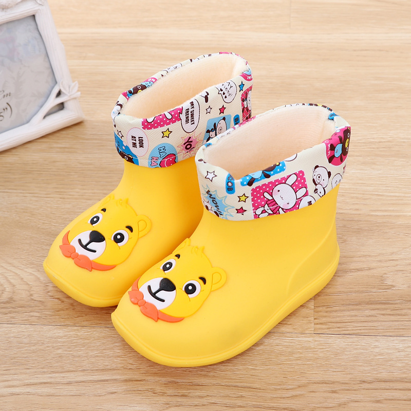 New Kids Rain Boots Rubber Rainboot Children Baby Girls Waterproof Boot Pvc Warm Boys Water Shoes Cartoon Four Seasons Removable