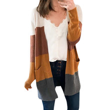 цена на Cardigan mujer Patchword Block Striped Draped Kimono Cardigan with Pockets Long Sleeve Open Front Casual Knit Sweaters Coat