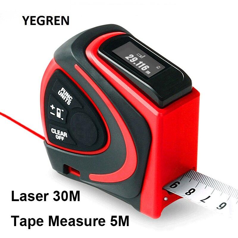 Haushalt 30m Laser-entfernungsmesser 5m Autolock Maßband mit Clip Wiederaufladbare USB Laser Lineal Abstand Fläche Volumen Messung
