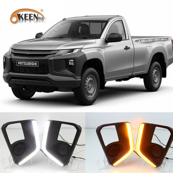 2PCS Car LED For Mitsubishi Triton L200 2019 2020 LED DRL Daytime Running Lights Fog Lamp Cover with Yellow Turn Signal Lamp