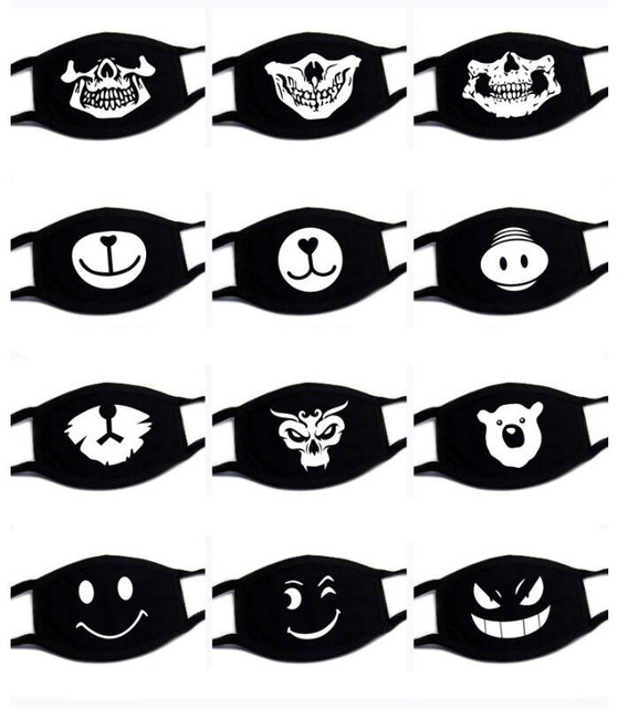 1PC Reusable Washable Black Anti-Dust Cotton Cute Bear Anime Cartoon Mouth Mask Kpop teeth mouth Muffle Face Mouth Masks 3