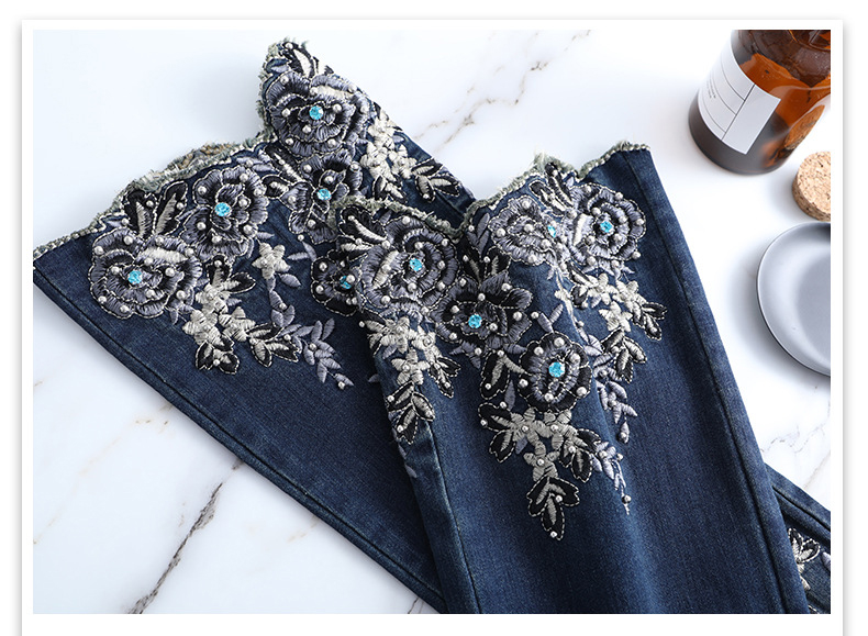 KSTUN FERZIGE Jeans Women High Waist Stretch Dark Blue Flared Pants Embroidery Hand Beads Bell Top Quality Mujer Jeans Plus Size 36 21
