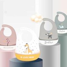 Bib Apron Feeding-Stuff Printed Animal Adjustable Soft-Silicone Waterproof Kids Children