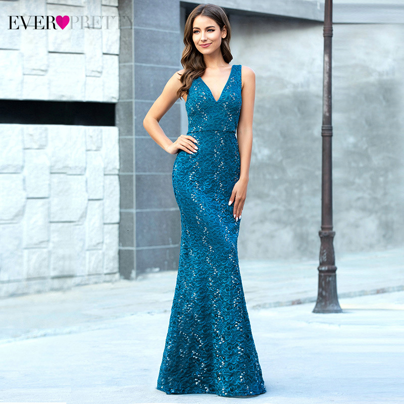 Teal Lace Evening Dresses Ever Pretty EP00778TE Double V-Neck Embroidered Sleeveless Sexy Mermaid Party Gowns Vestido De Festa
