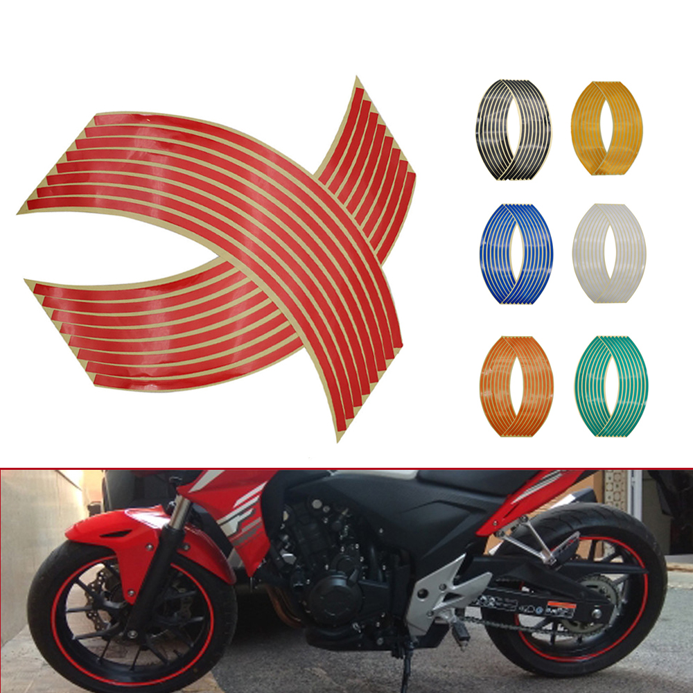 Motorcycle Wheel <font><b>Sticker</b></font> 3D Reflective Rim Tape Auto Decals Strips For Honda GROM MSX125 CB 400SF <font><b>650</b></font> 125 R R 650R R900RR R250R image