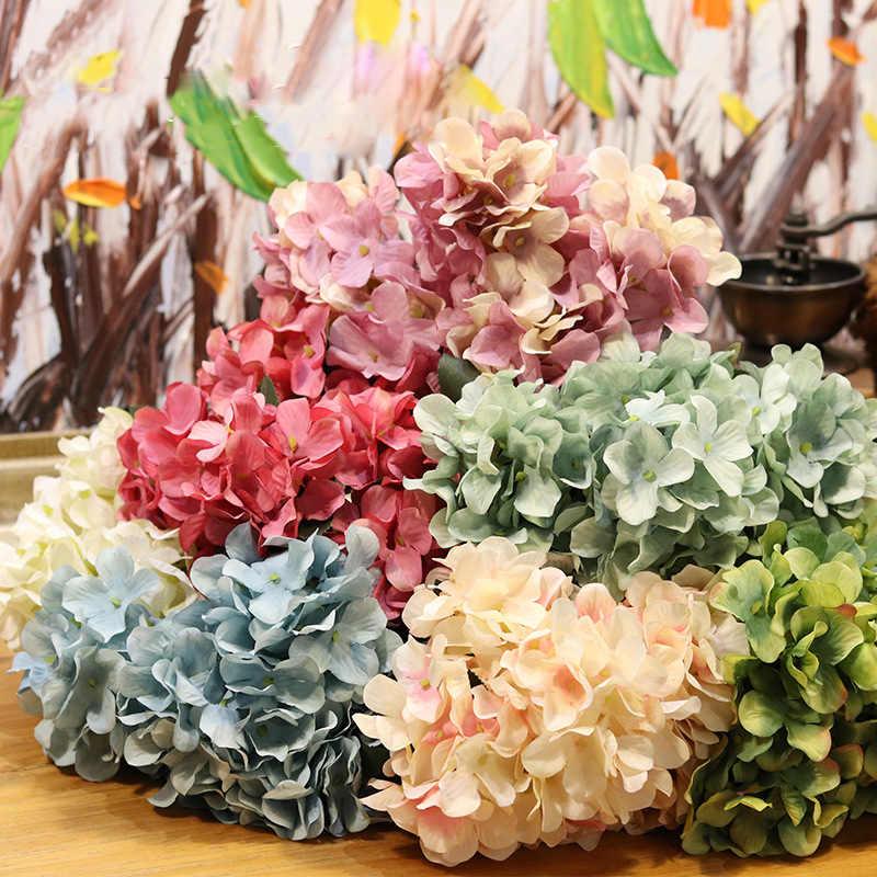 Simulación Hortensia plástico ramo boda fiesta en maceta Artificial ramo jardín para decoración del hogar