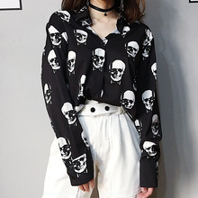 Black Blouse Loose-Shirts Skull-Print Long-Sleeve Dark-Fashion Women Summer Punk-Rock