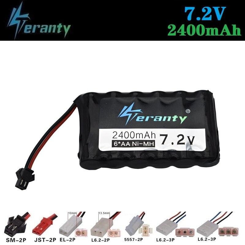 Teranty  7.2v 2400mah NIMH Battery 7.2v Ni-MH Battery Pack For RC Toys Cars Boat GUN TANK Truck Trains RC Toy Model Battery 1pcs
