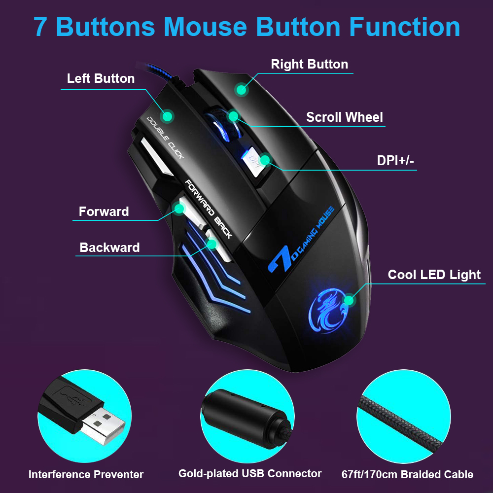 Wired PC Gaming Mouse Ergonomic Mice with LED Back-lit 7 Button 5500dpi Adjustable Computer Mouse for Men Women Gamer