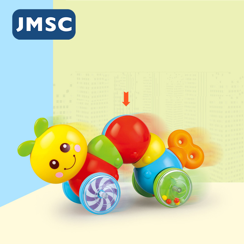 JMSC Baby Colorful Learning To Climb Toys Small Cute Bug Jingle Shaking Bell Sound Educational Crawl Newborn Rattle For Infant
