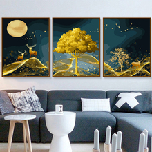 Pack of 3 Diy Oil Painting[3 Pcs Split Series deer]Paint by Numbers for Adults & kids .a gift Home Decoration