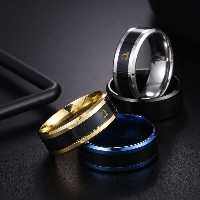 Multifunctional Waterproof Intelligent Smart Temperature Couple Ring Titanium Steel Finger Jewelry Fingertip Sense