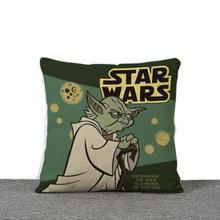 Disney Anime Cartoon Star Wars Elder Yoda Sofa Cushion Waist Pillow Cover Decorative Cushion Cover for Kids Baby Boys 45x45cm
