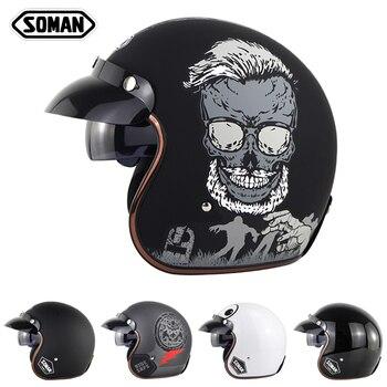 Soman Motorcycle Helmet Vintage Half Face Helmet Retro Chopper Cruiser Helmet Men Women Scooter Motorbike Open Face Helmet