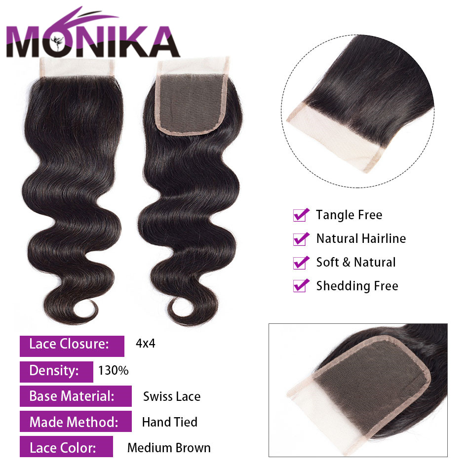 Image 3 - Monika 4x4 Lace Closure Hair Brazilian Body Wave Closure Human Hair Closure Free/Middle/3 Part Swiss Lace Closures Natural Color-in Closures from Hair Extensions & Wigs