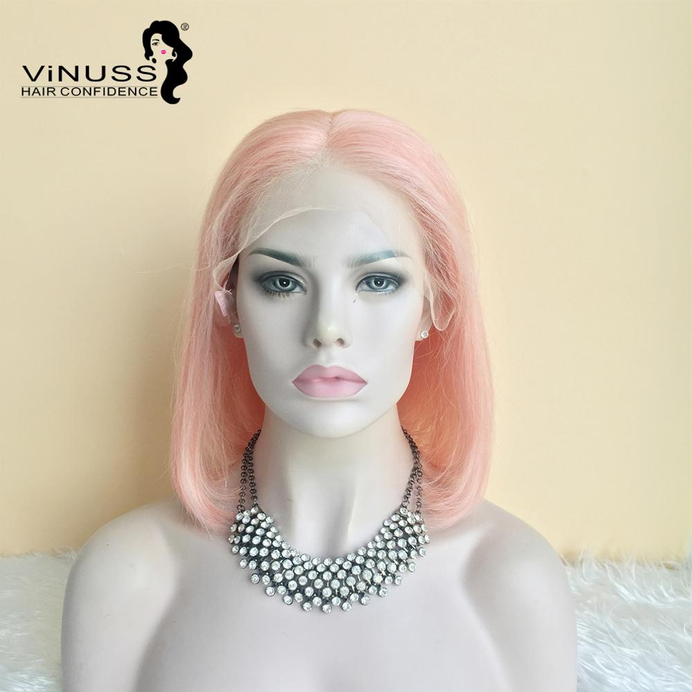 Vinuss Human Hair Pink Bob Lace Front Wigs Pre Plucked Blue Red Grey Green Straight Ombre Short Bob Wigs For Black Women