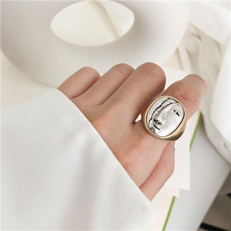 Женские винтажные кольца HUANZHI, большие круглые кольца с геометрическим рисунком, вечерние ювелирные изделия для девушек