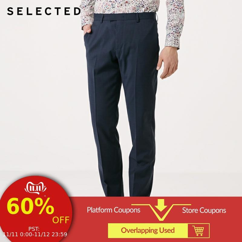 SELECTED Men's Spring Pure Color Regular Fit Woolen Suit Pants T|41916B511