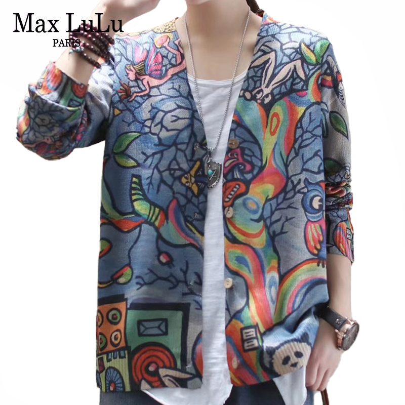 Max LuLu 2020 Spring Fashion Ladies Vintage Cardigans Womens Casual Printed Sweaters Female Luxury Knitted Knitwears Plus Size