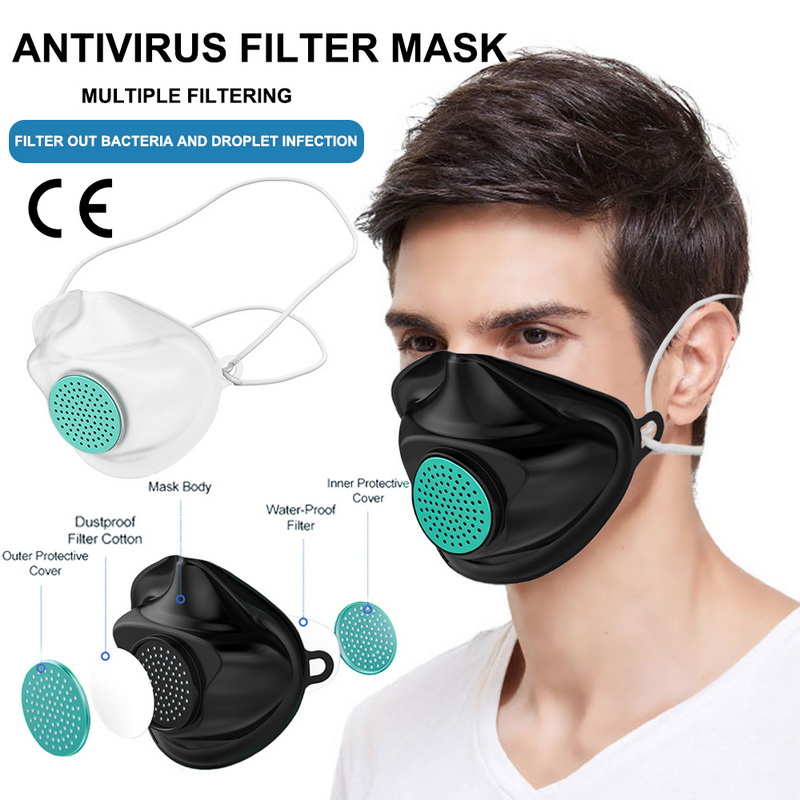 10pcs KN95 TPE Protective Silicone Mask Face Mouth Protect Anti Dust Virus Washable Earloop Masks With 300pcs Filter Element