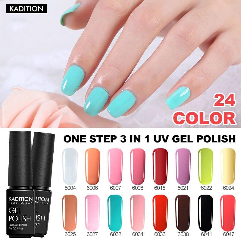 Soak Off UV Gel Nail One Step Semi-permanent Nail Polish 3 In 1 Gel Varnish Nail Art Color Top Base For Nails Primer Gel Varnish