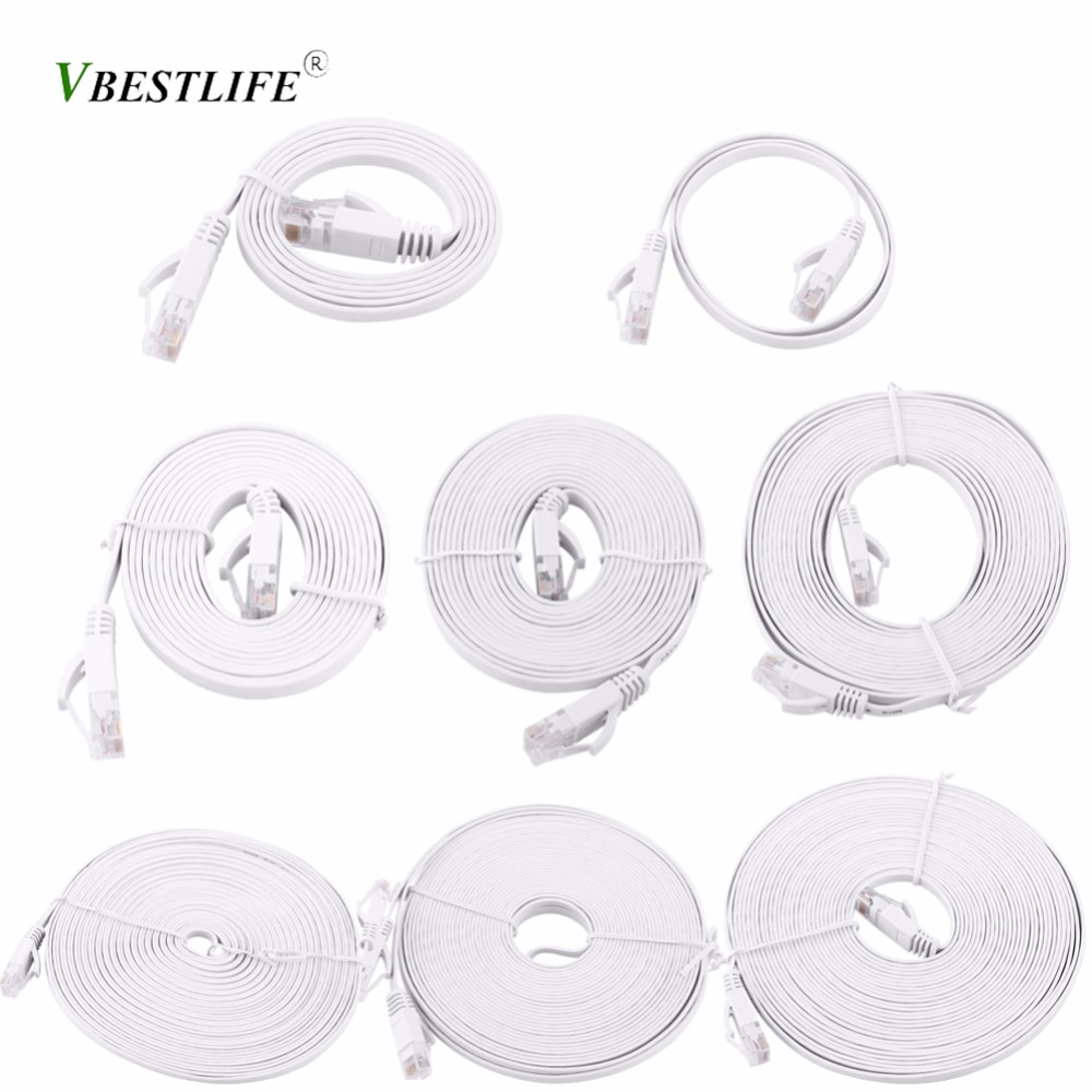 VBESTLIFE RJ45 CAT6 Ethernet Network Flat LAN Cable UTP Patch Router Cables 1000M White 0.5m, 1m, 2m, 3m, 5m, 8m, 10m, 15m Cable