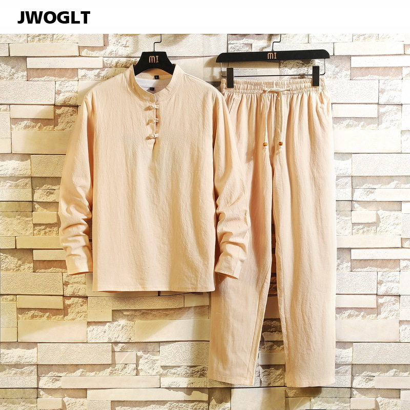 (Shirt + Trousers) Korean Fashion Summer Long Sleeve Shirt Man Cotton And Linen Clothing Casual Black Khaki White Tracksuit Set