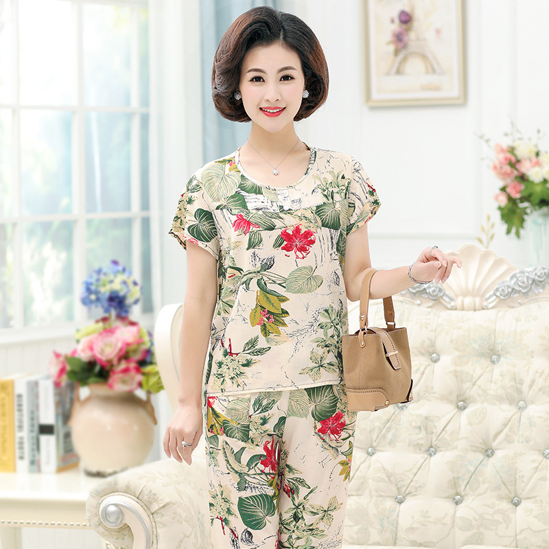 Mom Pajamas Summer Set Large Size Spring And Autumn WOMEN'S Short Sleeved Cotton Silk Two-Piece Set Bourette Artificial Cotton-O