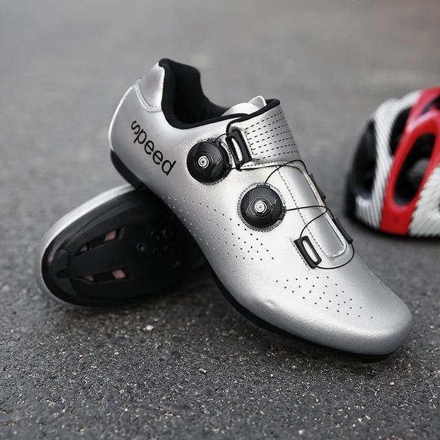 Alta qualidade dupla fivelas sapatos de ciclismo mtb respirável auto-bloqueio sapatos de bicicleta profissional tênis de estrada da bicicleta cleat sapatos 3