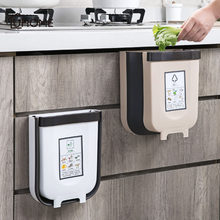 Kitchen Cabinet Door Hanging Trash Foldable Garbage Bin Can Rubbish Container Wall Mounted Storage Boxes Cupboard Hanging Cans