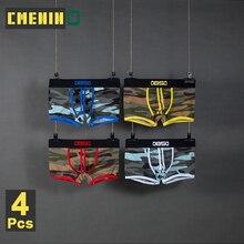 Boxer short pour hommes Sexy, lot de 4 pièces de Camouflage, Boxer en maille, Cueca, Boxer culotte de Lingerie pour hommes, BS82